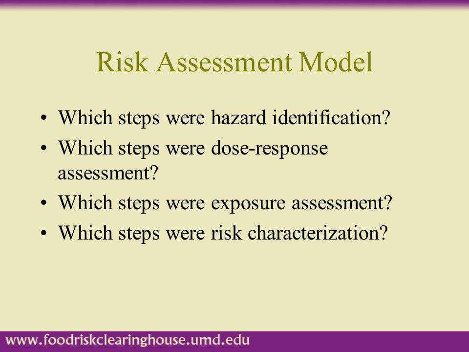 Risk Assessment Model Which steps were hazard identification