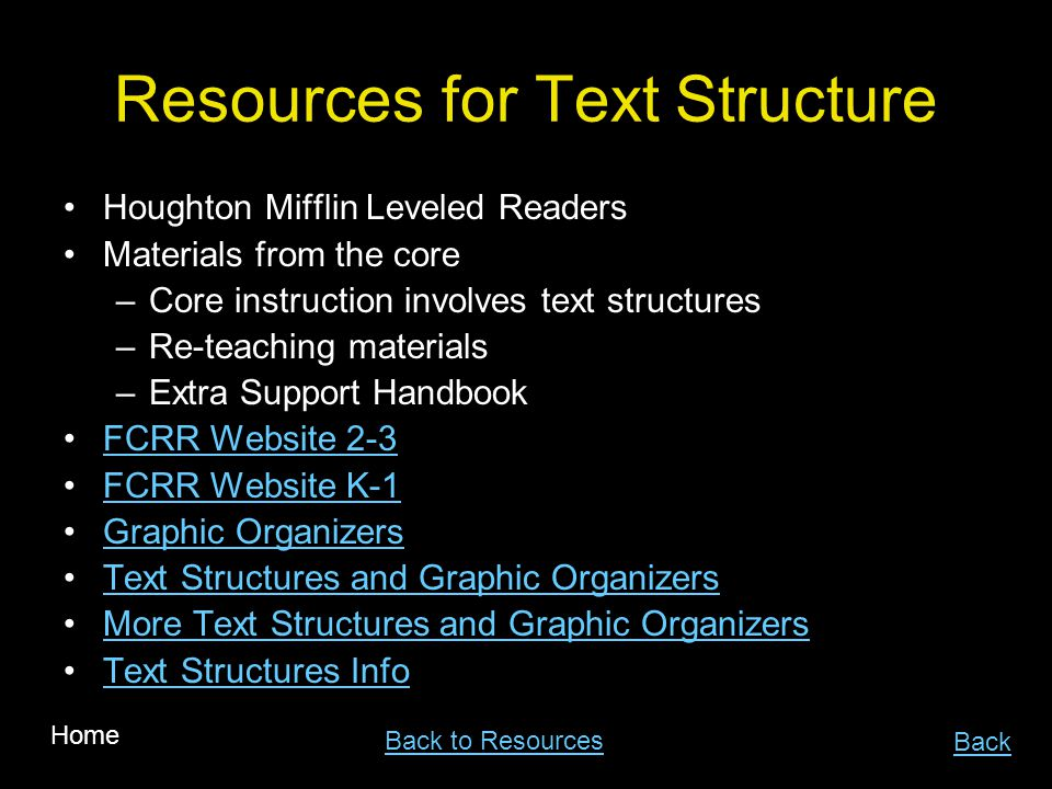 Resources for Text Structure