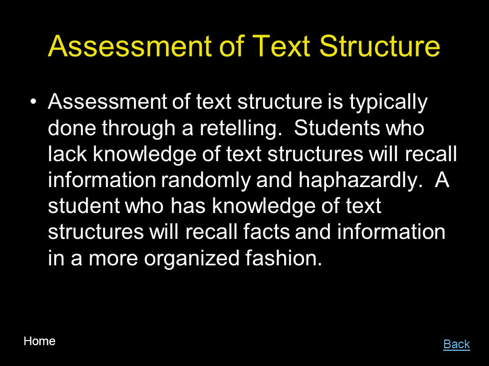 Assessment of Text Structure