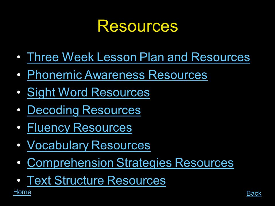 Resources Three Week Lesson Plan and Resources