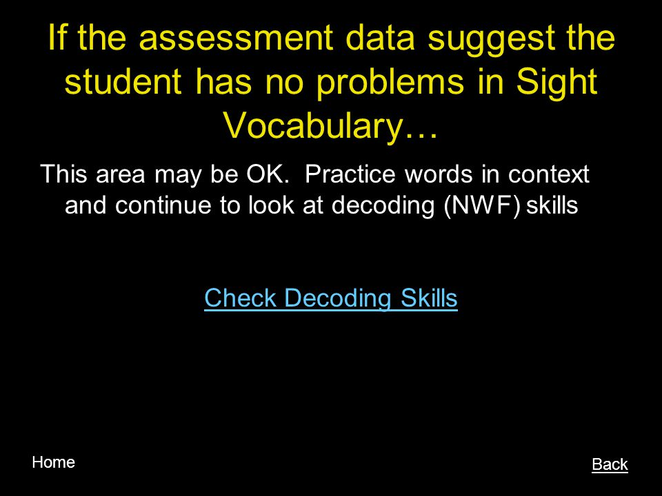 If the assessment data suggest the student has no problems in Sight Vocabulary…