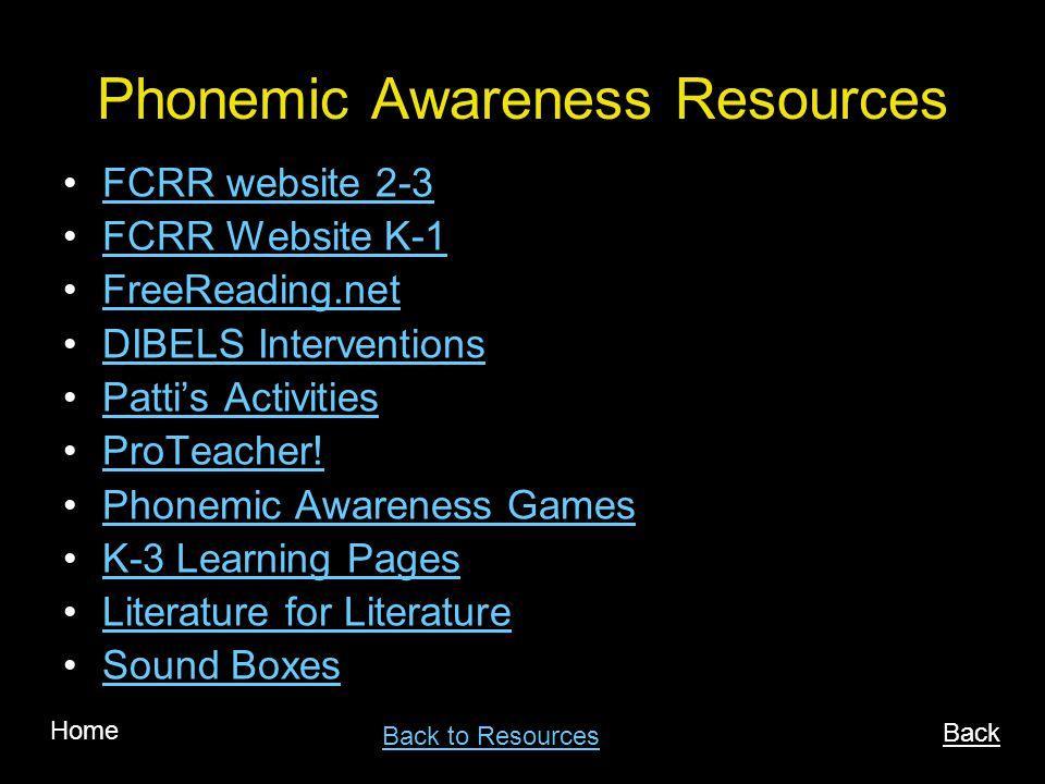 Phonemic Awareness Resources