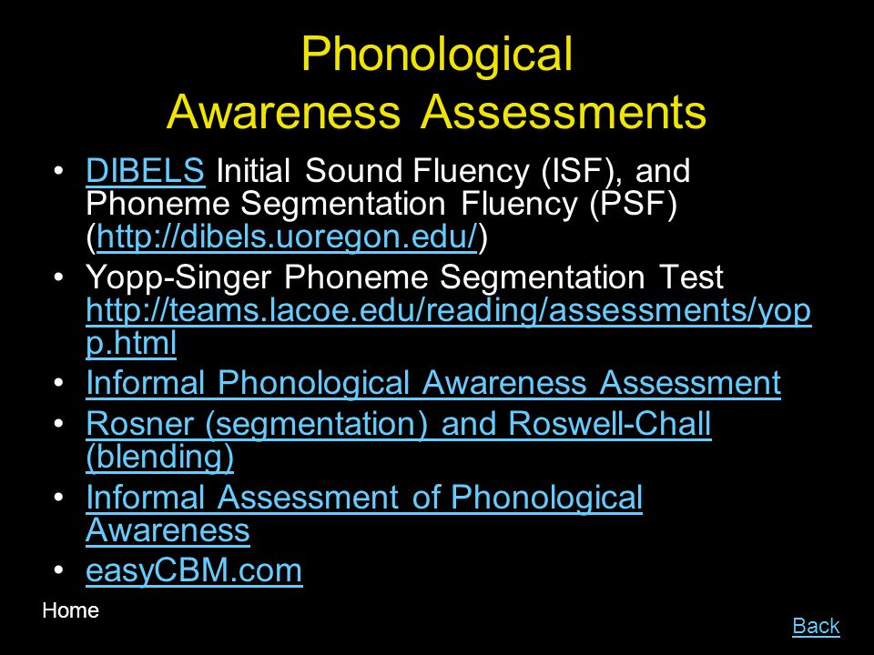 Phonological Awareness Assessments