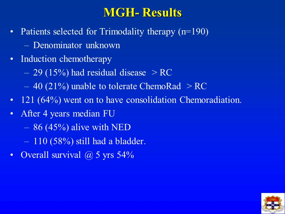 MGH- Results Patients selected for Trimodality therapy (n=190)