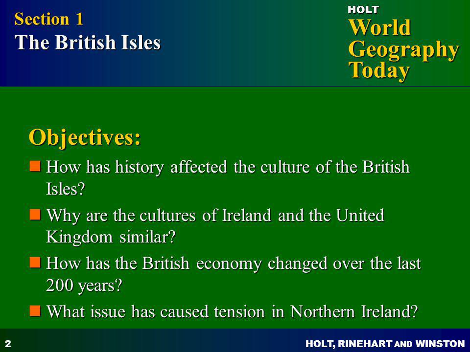 Objectives: Section 1 The British Isles
