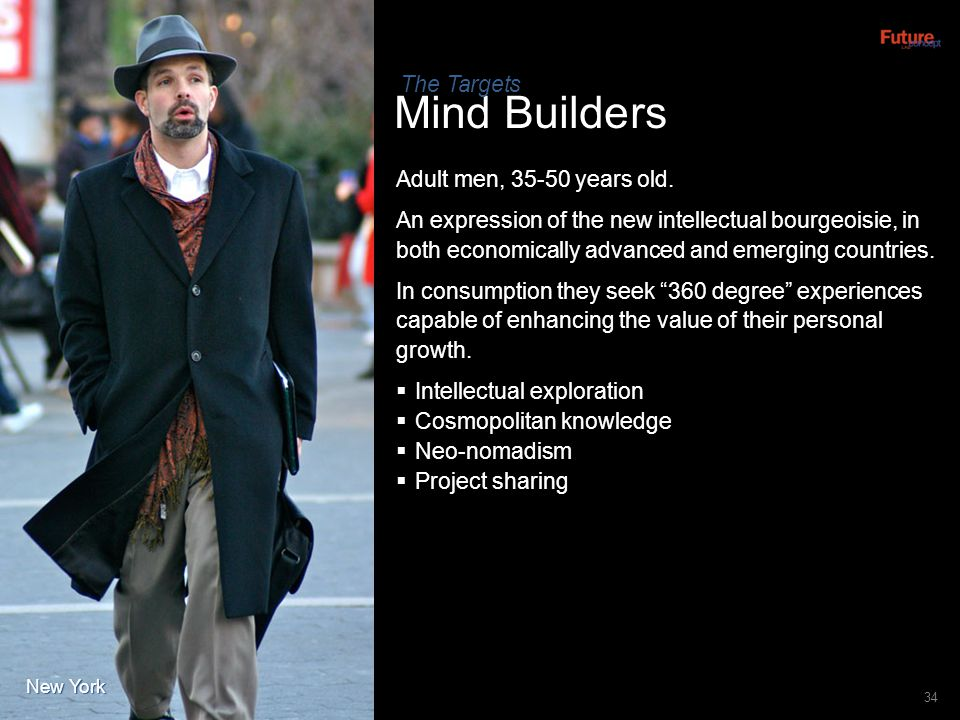 Mind Builders The Targets Adult men, 35-50 years old.