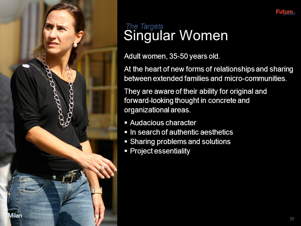 Singular Women The Targets Adult women, 35-50 years old.