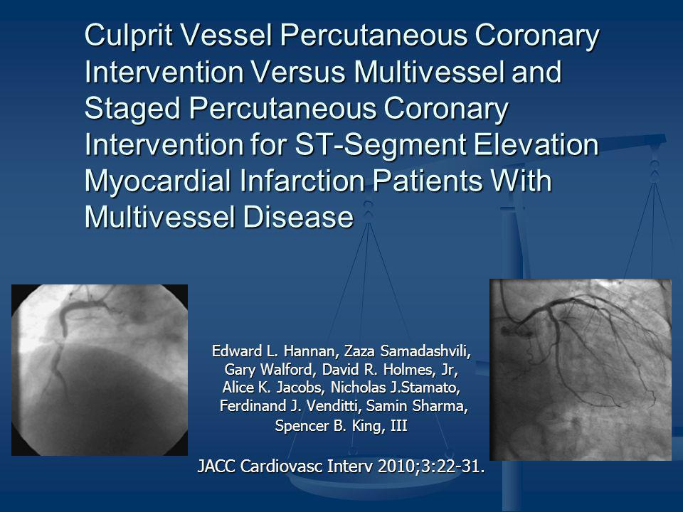 Culprit Vessel Percutaneous Coronary Intervention Versus Multivessel and Staged Percutaneous Coronary Intervention for ST-Segment Elevation Myocardial Infarction Patients With Multivessel Disease