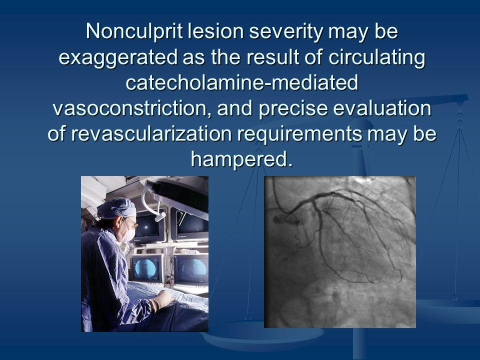 Nonculprit lesion severity may be exaggerated as the result of circulating catecholamine-mediated vasoconstriction, and precise evaluation of revascularization requirements may be hampered.