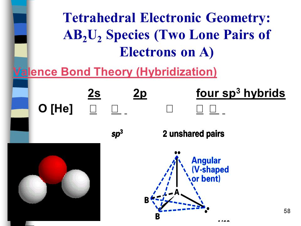 Tetrahedral Electronic Geometry: AB2U2 Species (Two Lone Pairs of Electrons on A)
