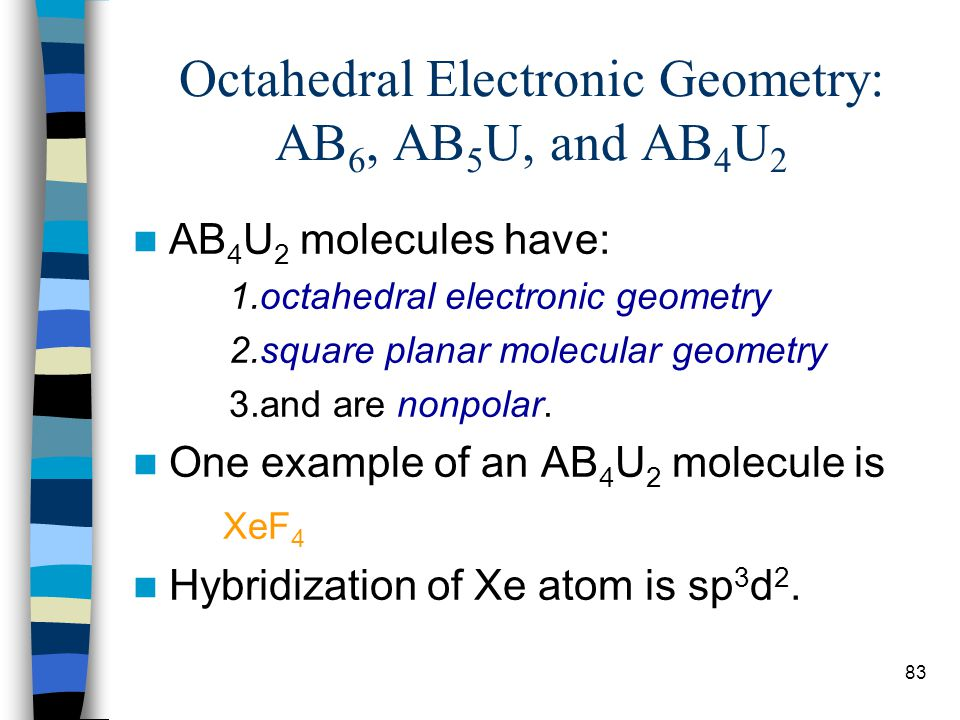 Octahedral Electronic Geometry: AB6, AB5U, and AB4U2