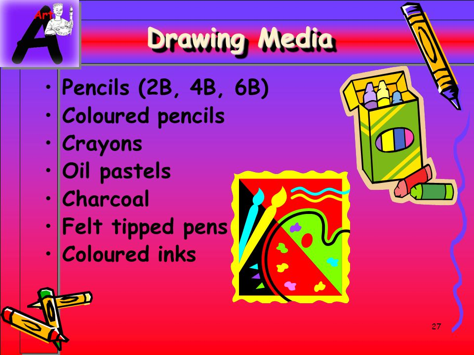 Drawing Media Pencils (2B, 4B, 6B) Coloured pencils Crayons