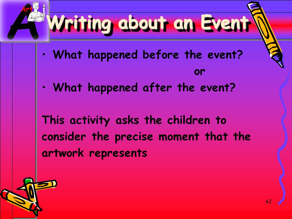 Writing about an Event What happened before the event or