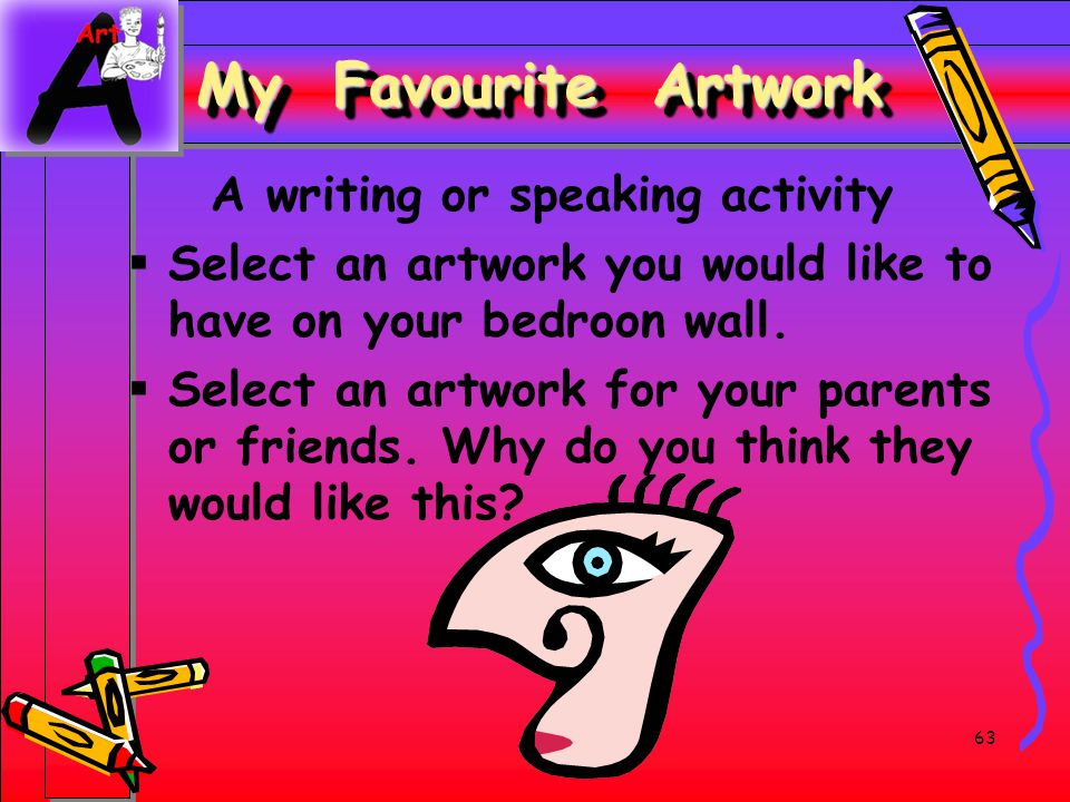 My Favourite Artwork A writing or speaking activity