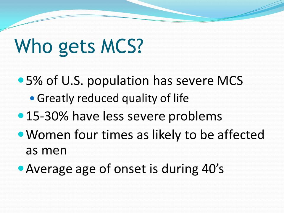 Who gets MCS 5% of U.S. population has severe MCS