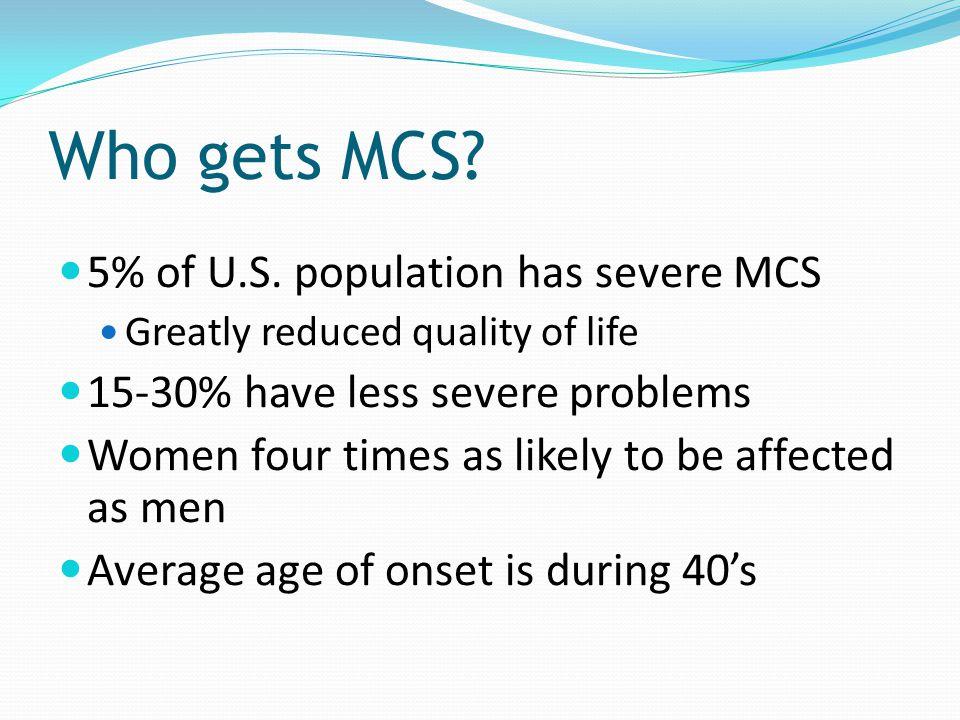 Who gets MCS 5% of U.S. population has severe MCS