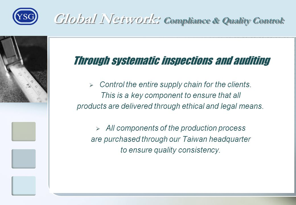 Global Network: Compliance & Quality Control: