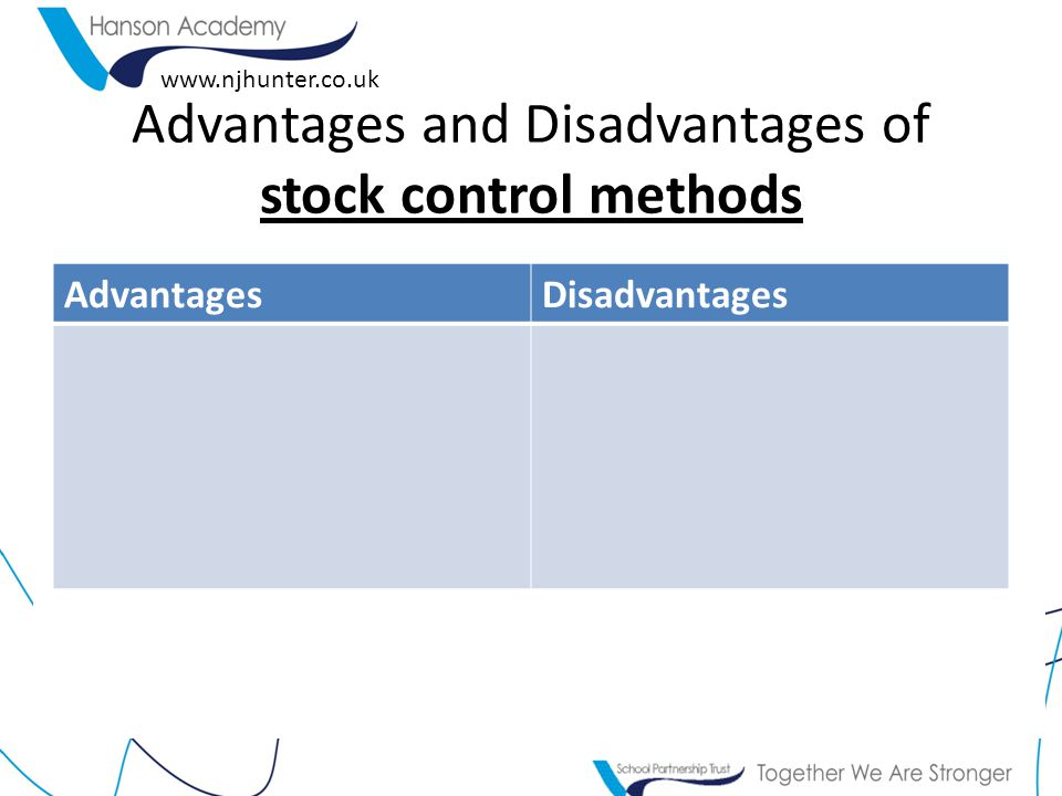 Advantages and Disadvantages of stock control methods