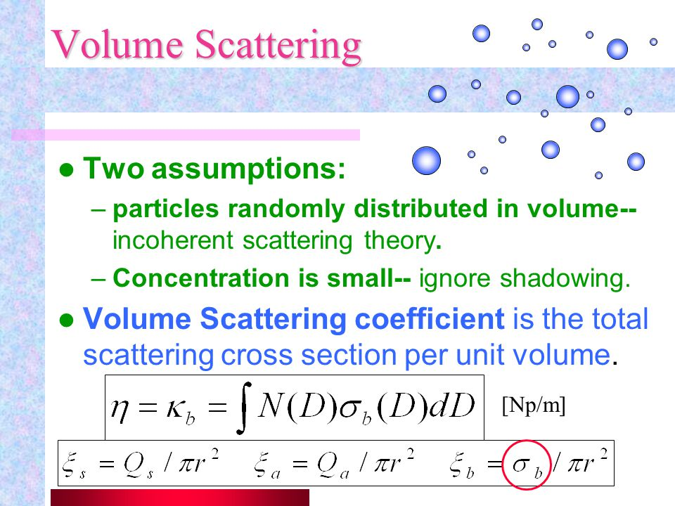 Volume Scattering Two assumptions: