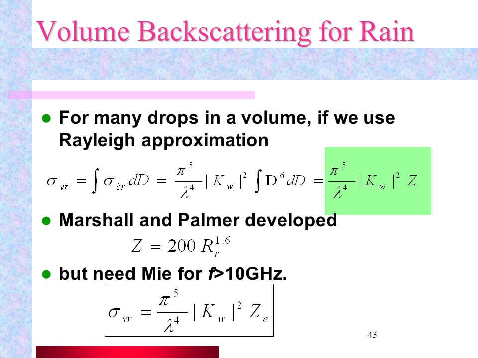 Volume Backscattering for Rain