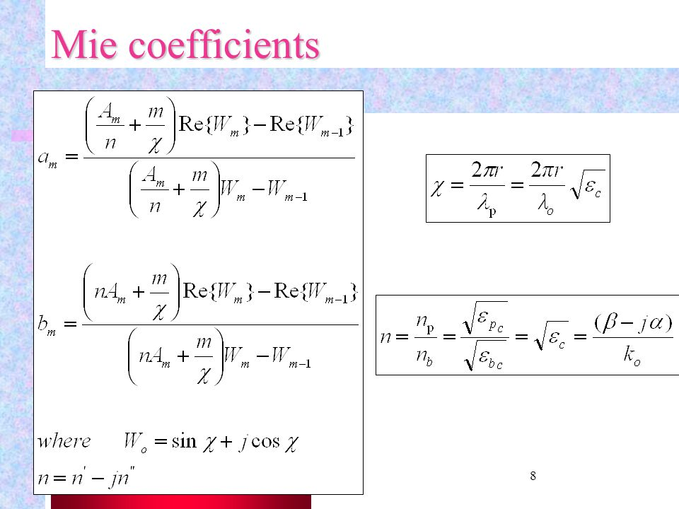Mie coefficients