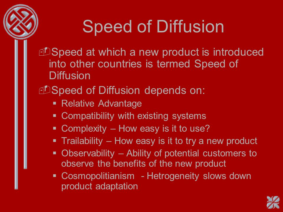 Speed of Diffusion Speed at which a new product is introduced into other countries is termed Speed of Diffusion.