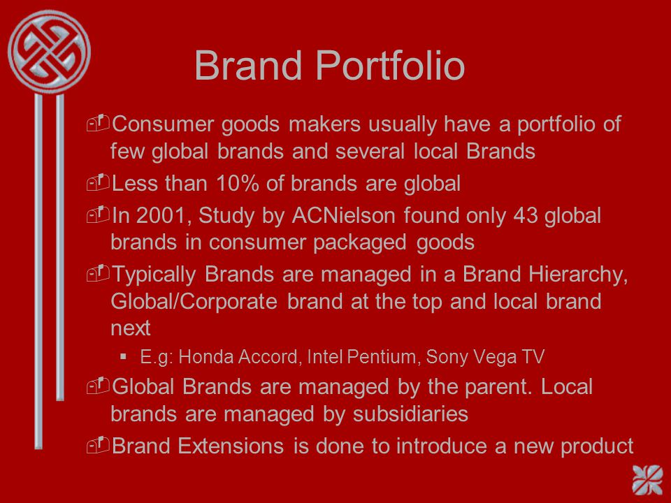 Brand Portfolio Consumer goods makers usually have a portfolio of few global brands and several local Brands.