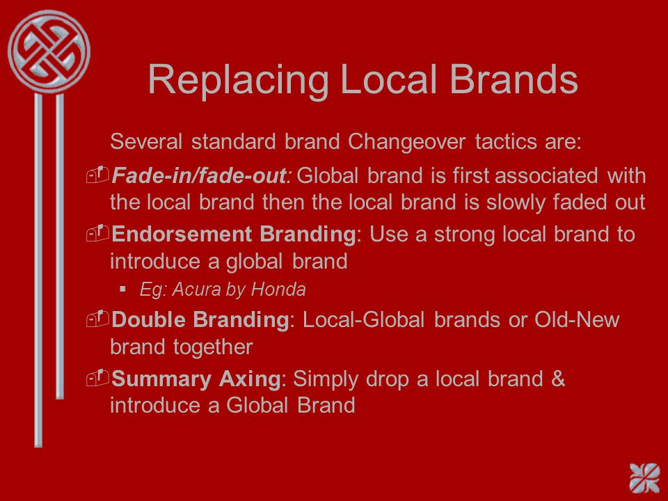 Replacing Local Brands