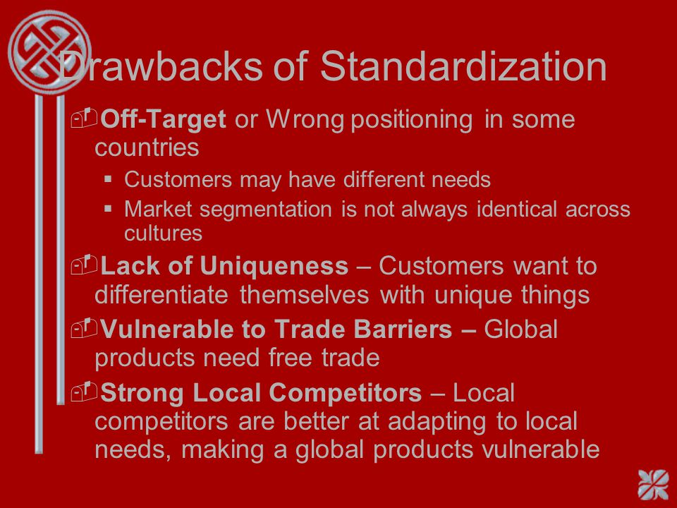 Drawbacks of Standardization