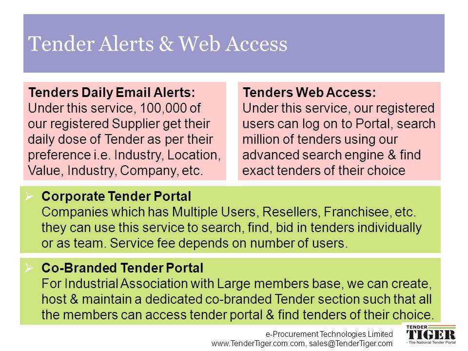 Tender Alerts & Web Access