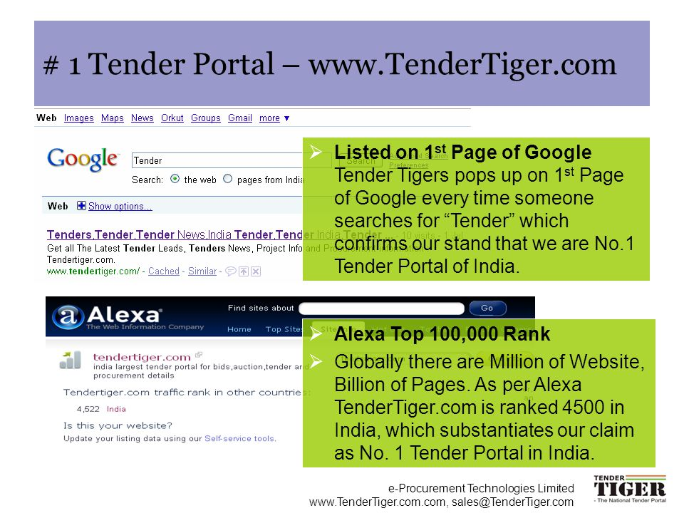 # 1 Tender Portal – www.TenderTiger.com