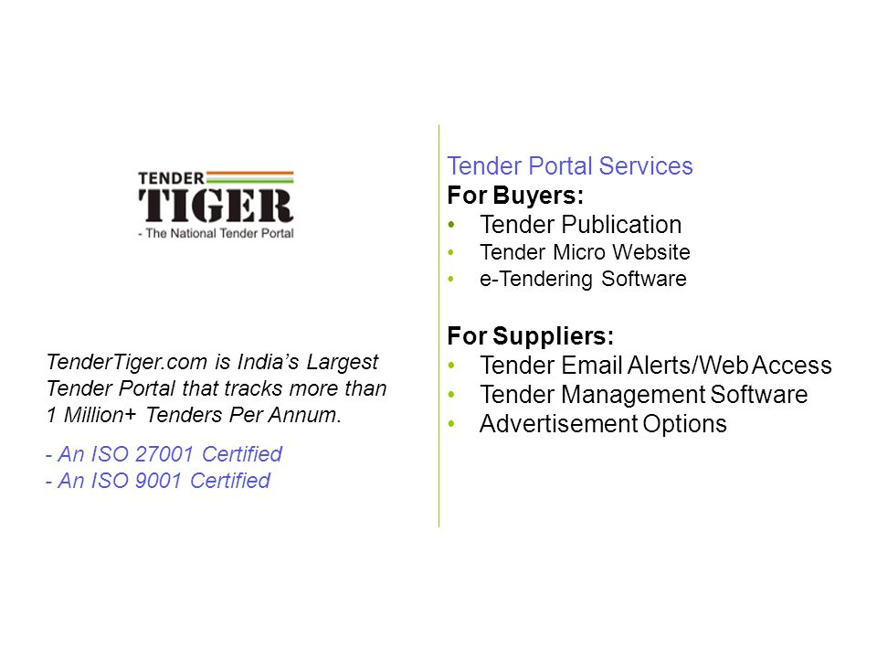 Tender Portal Services For Buyers: Tender Publication