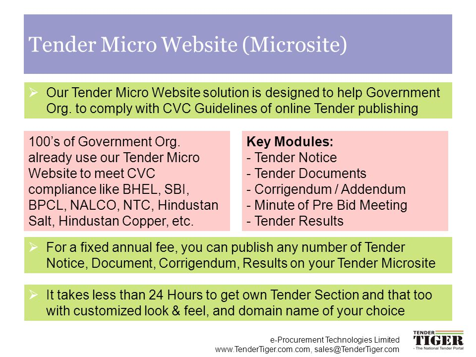 Tender Micro Website (Microsite)