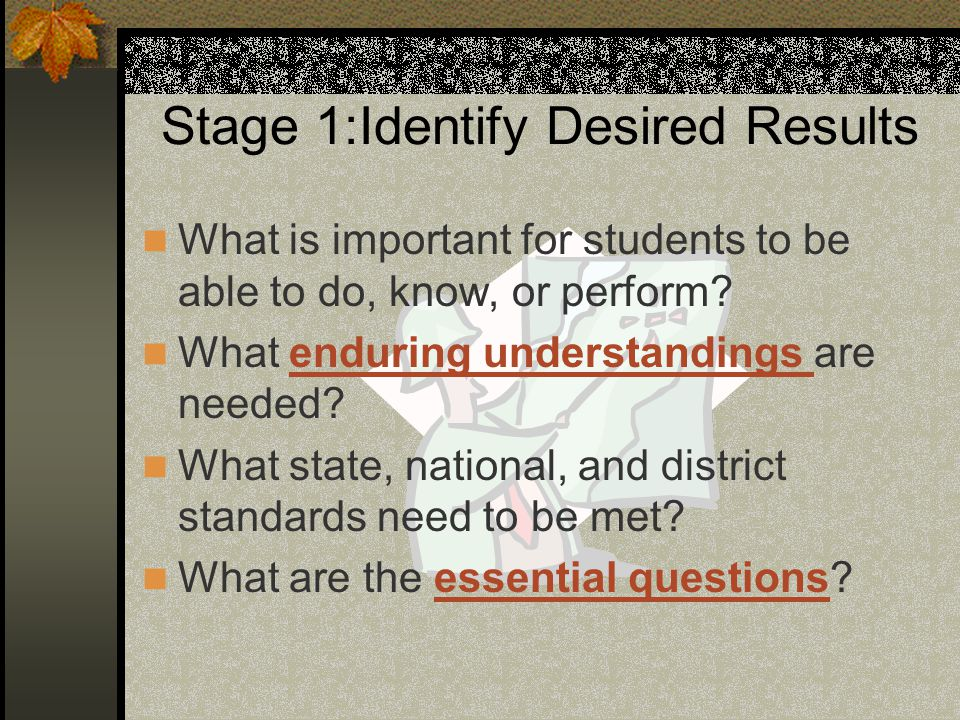 Stage 1:Identify Desired Results