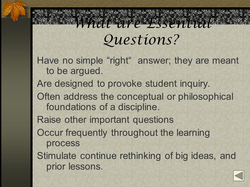 What are Essential Questions