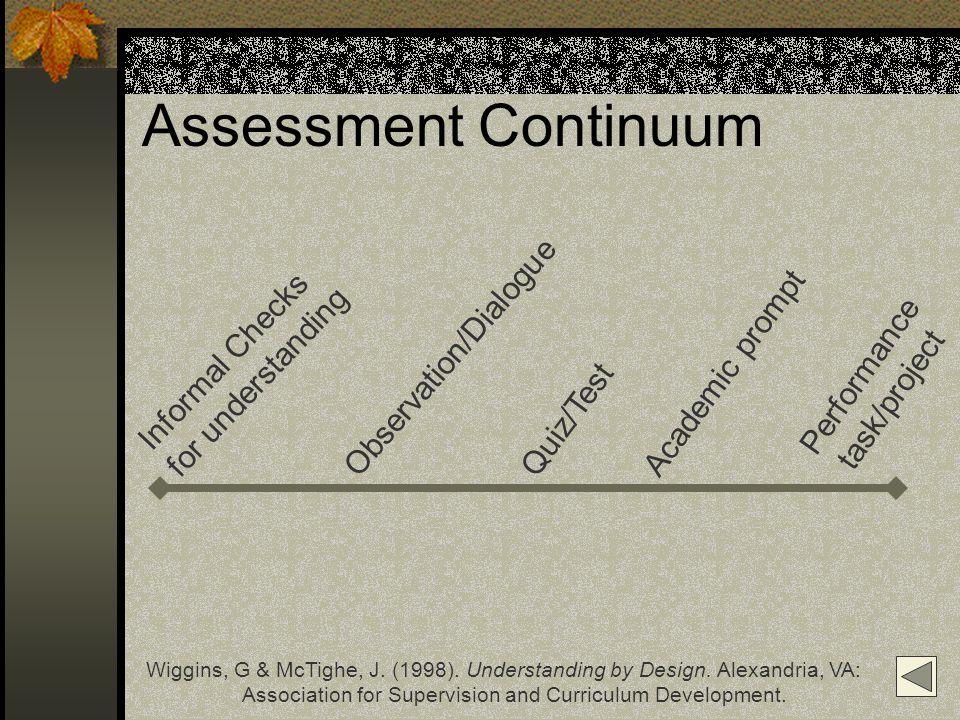 Assessment Continuum Observation/Dialogue