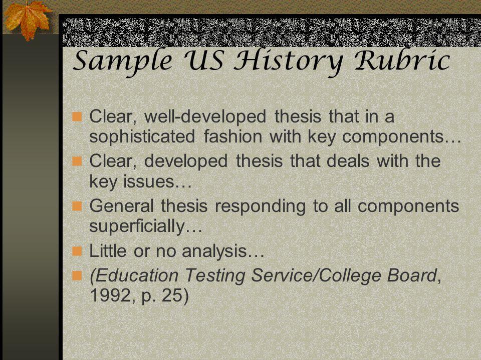 Sample US History Rubric