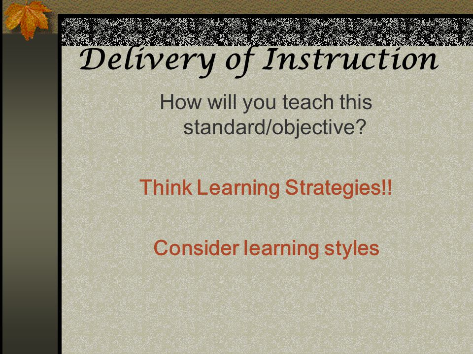 Delivery of Instruction