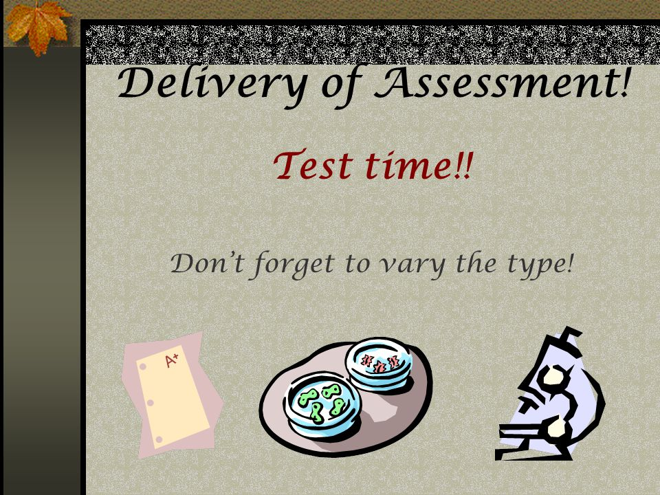 Delivery of Assessment!
