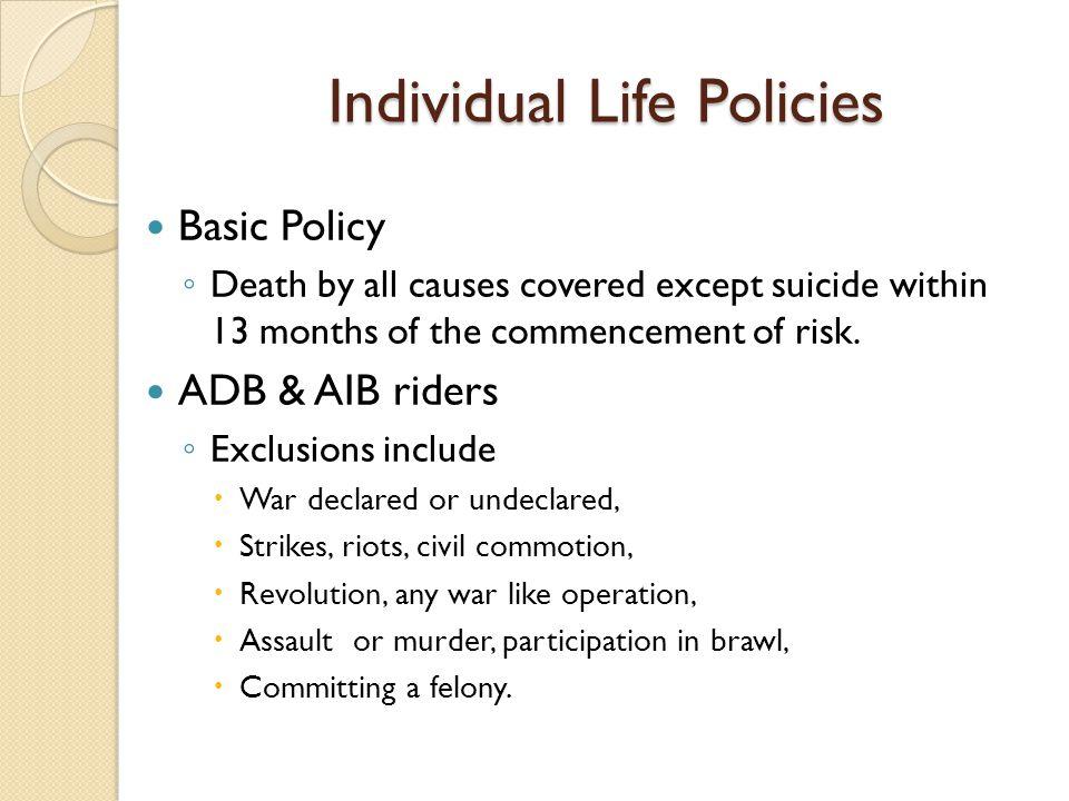 Individual Life Policies