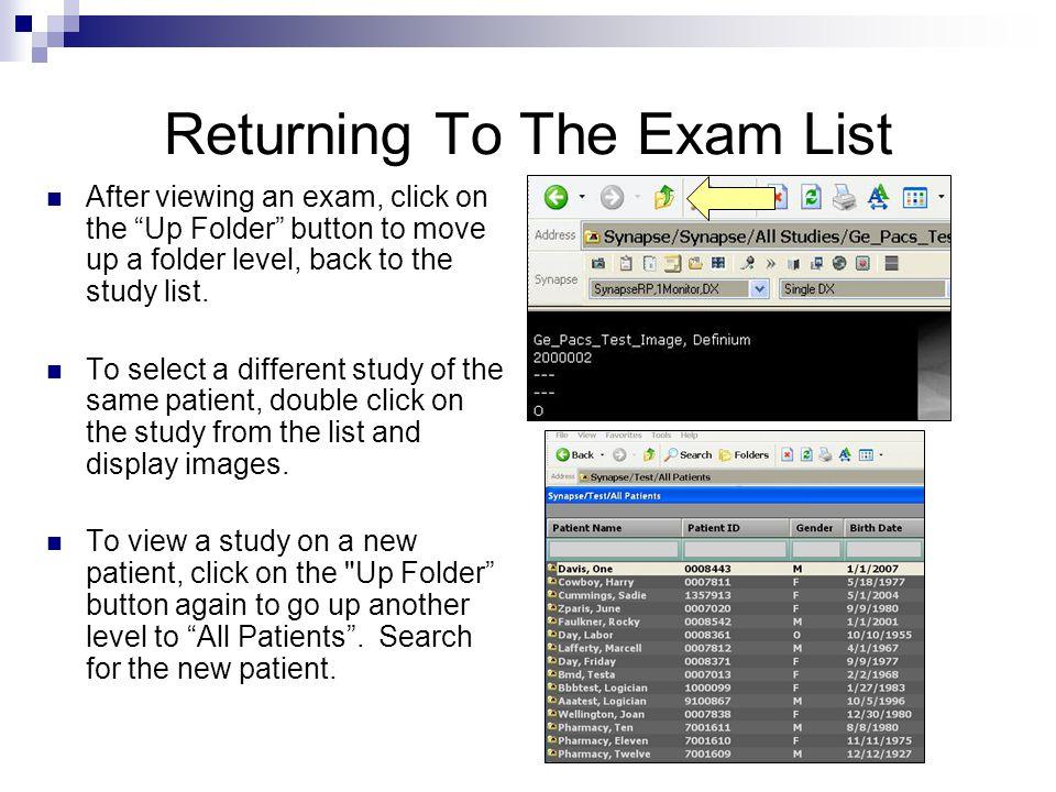 Returning To The Exam List