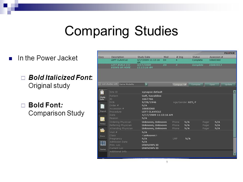 Comparing Studies In the Power Jacket