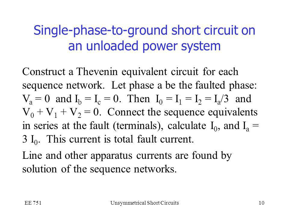 Single-phase-to-ground short circuit on an unloaded power system