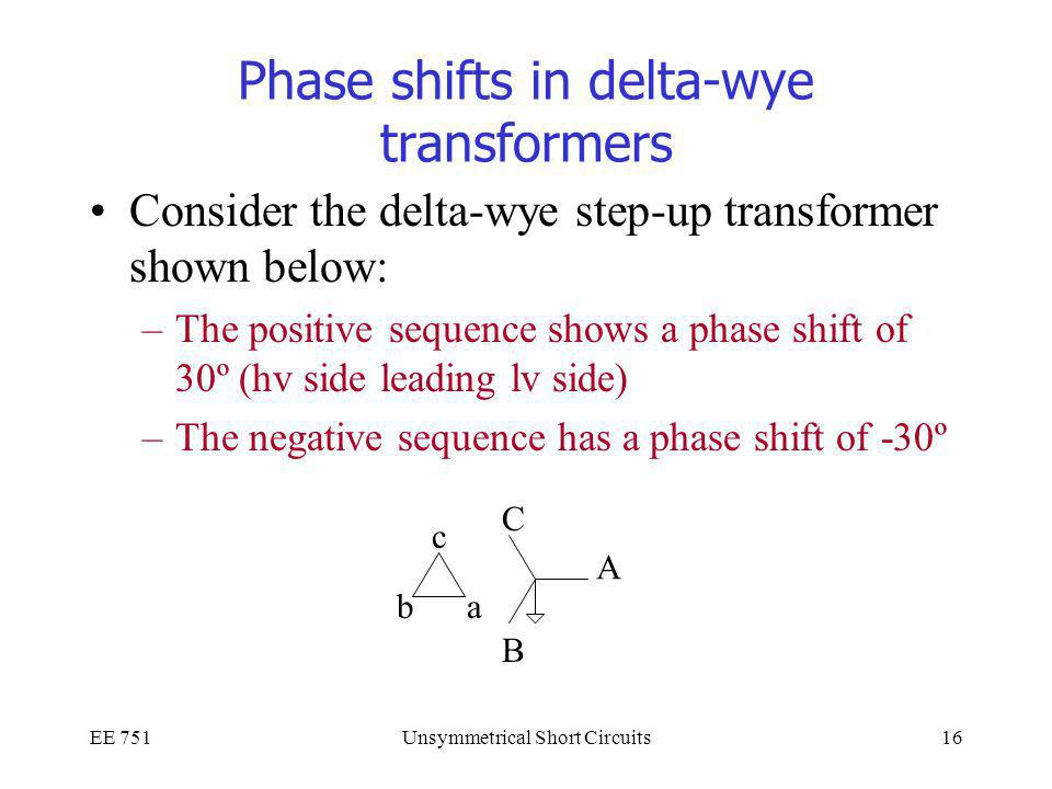 Phase shifts in delta-wye transformers