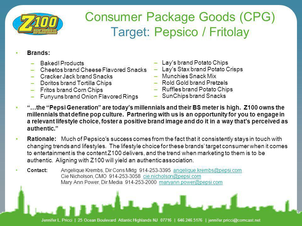 Consumer Package Goods (CPG) Target: Pepsico / Fritolay