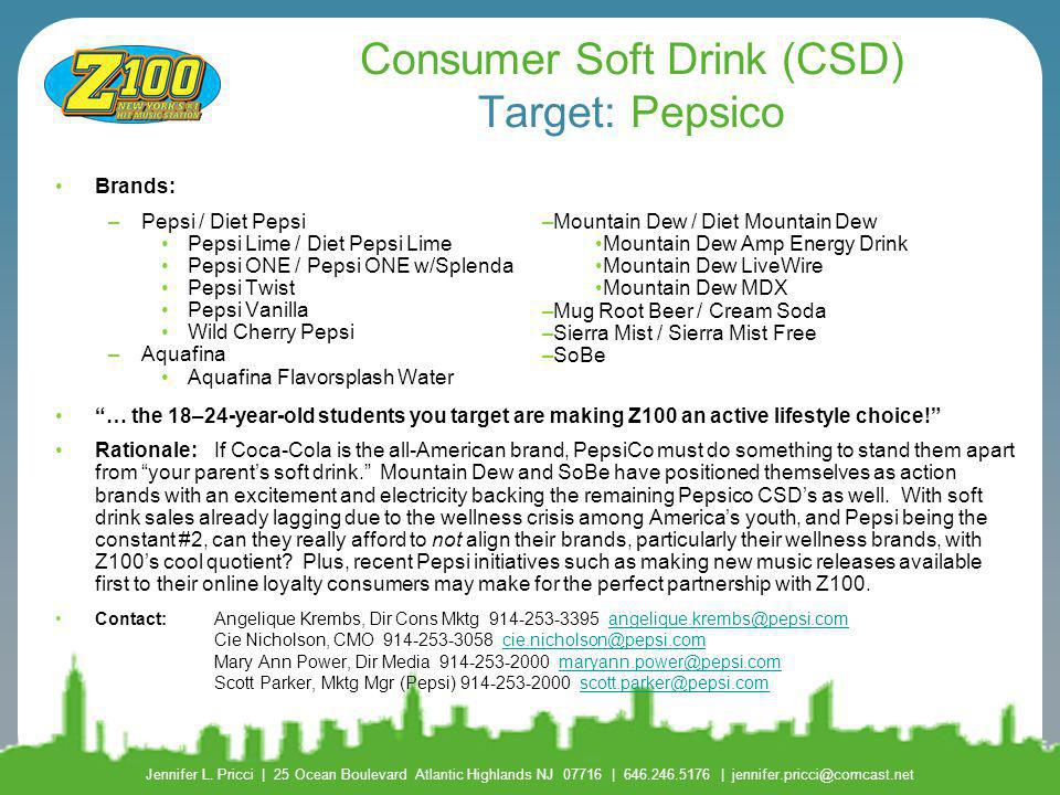 Consumer Soft Drink (CSD) Target: Pepsico