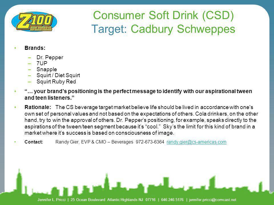 Consumer Soft Drink (CSD) Target: Cadbury Schweppes