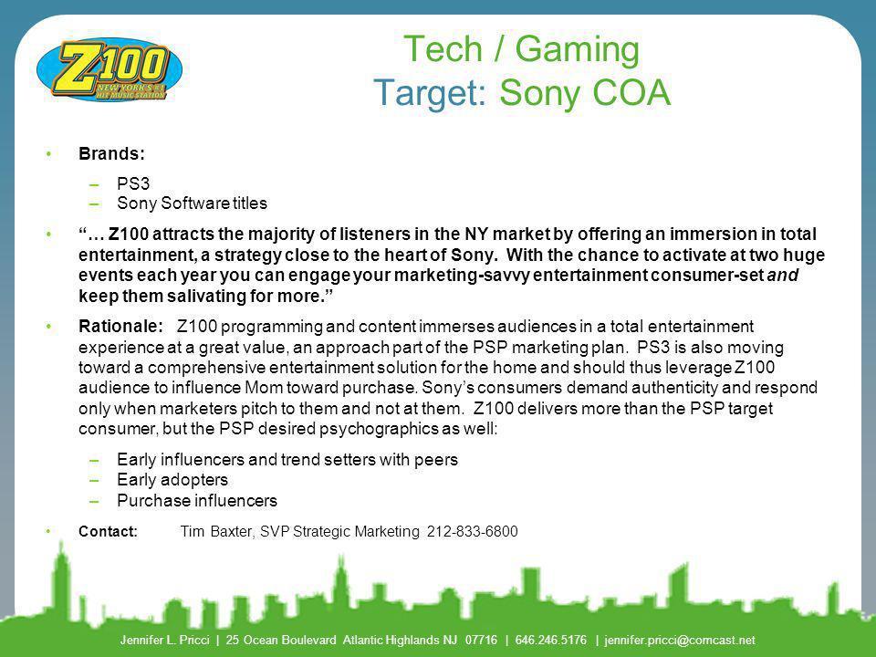 Tech / Gaming Target: Sony COA