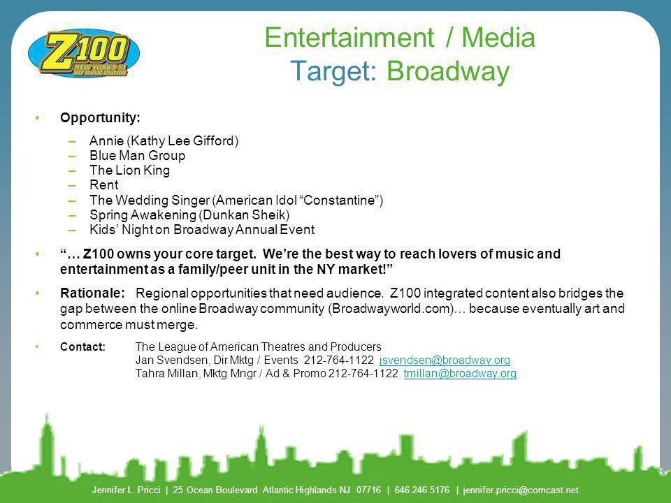 Entertainment / Media Target: Broadway