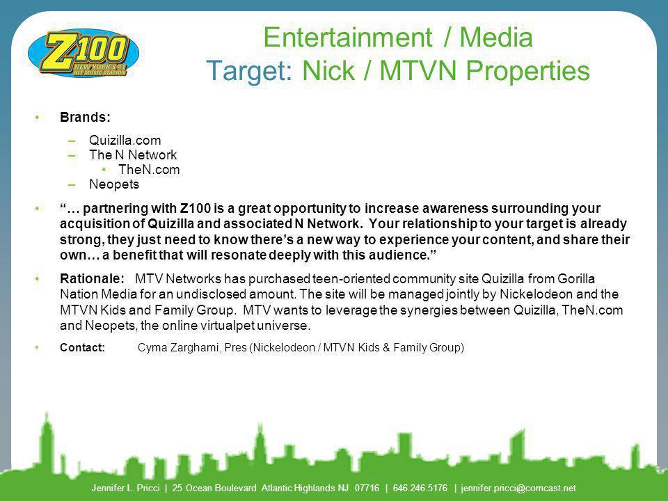 Entertainment / Media Target: Nick / MTVN Properties